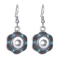 Noosa 12mm Ingwerkeks Ohrringe Schmuck Mode-Silber-Kristallverschluss-Knopf Chunks Tropfen-Ohrring-Frauen Person Geschenk