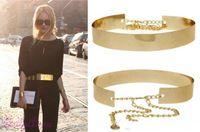 2018 горячие продажи новая мода женщины полный золото / серебро металлическое зеркало пояс металлический золотая пластина широкий Obi группа с цепями
