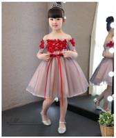 Robe élégante de fille de fleur rouge Tulle première sans épaules Communion Robes de soirée de mariage fille anniversaire robe princesse Robes enfants Appliques
