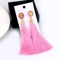 Bohemian Rhinestone Long Tassel Earrings Fashion Brinco Bijo...