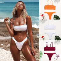 Women Sexy Smocked Bikini Swimsuit Swimwear Bralette Beachwe...