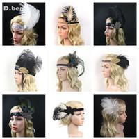 4 unids / lot mujeres plumas de cabeza accesorios para el cabello Rhinestone con cuentas de lentejuelas de lentejuelas de lentejuelas 1920s Vintage Gatsby Fiesta de la fiesta