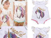 Baby Girls cotton unicorn tassel Romper Summer Cartoon Infan...