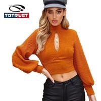 TOTRUST Turtle Neck Blusas For Women 2018 Mulher Sweater Knitting pulôver Sexy Lanterna camisola de manga Feminino Blusa Inverno