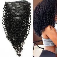 곱슬 곱슬 곱슬 머리카락 기계 인간의 머리카락 연장에 레미 클립 제작 두꺼운 자연 색상 100g 7pcs / Lot