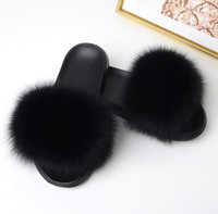 Women Summer Slippers Flat Fox Fur Slippers Nature Real Fur ...