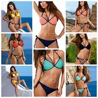 19 Colors Women Printed Bikini Bandage Swimsuit Paded Swimwe...