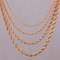"""16 """"18"""" 20 """"24"""" Collana con catena a corda in oro 2mm, 3mm, 4mm, 5mm per risultati dei monili della corda pendente"""