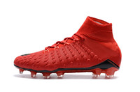 Red Colors Soccer Cleats Scarpe Hypervenom Phantom III DF FG Neymar uomo originali da calcio