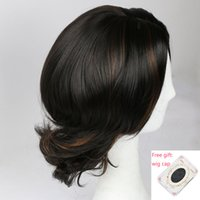 Short Straight Black Mix Brown Synthetic Hair Cosplay Wigs F...