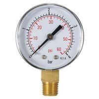 "Freeshipping 50mm manométrico Filtro de pressão de água discar hidráulico manômetro hidráulico manometre Pressão 1/4 ""BSPT Thread 0 ~ 60PSI 0 ~ 4bar"