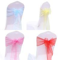 Organza Chaise Sashes Bande Bow Ties Couverture Chaise Ceintures Pour Les Mariages Événements Parti Banquet Décoration 18 * 275cm