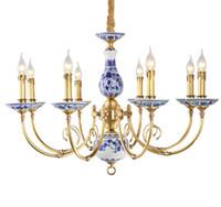 Regron 도자기 샹들리에 조명 Led 도자기 샹들리에 램프 로얄 전통 중국 Lustre 수집품 빌라 라운지 사용