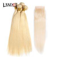 9A 브라질 스트레이트 버진 인간의 머리카락 짜기 4 번들 블랙 금발 색상 613 # 레이스 클로저 페루 말레이시아 인도 캄보디아 머리카락