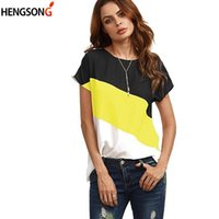 Color Block Patchwork Female T Shirt Harajuku T- Shirts Women...