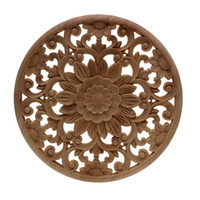 VZLX Rubber Wood Carved Onlay Applique Unpainted Furniture F...