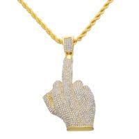 Hip Hop Erkekler Kadınlar Altın Rengi Kaplama Tam Rhinestone Ile Büyük Orta Parmak Kolye Kolye Bling Kristal Zincirler Vogue Takı