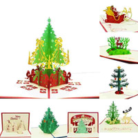 Biglietti di auguri di Natale 3d biglietti di auguri pop-up fatti a mano Carta di cancelleria regalo di Natale fatti a mano in 3D Vintage Retro forato Post Greeting Cards
