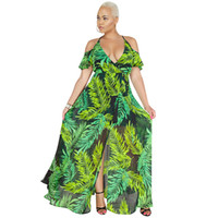 Women Chiffon Maxi Dress Off the Shoulder Tropical Leaves Pr...