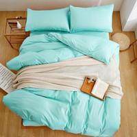 Nuevo producto textil del color sólido de 4 piezas Juego de cama Ropa de cama de microfibra Navy Blue Bed sábanas cubierta del Duvet de la hoja de cama