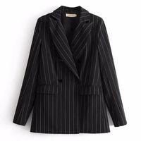 Chic Noir Contrast Blanc Blazer À Rayures 2018 Nouvelle Femme Col Encastré Slim Fit Costume Veste Décontractée Manteau Survêtement Noir