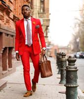 2019 Последние Конструкции Пальто Брюки Красный Случайный Мужской Костюм Slim Fit Тощий 2 Шт. Смокинги Пром Костюмы Мода Блейзер Свадебный Костюм