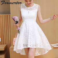 d834ca5cd 2018 nueva chica de verano vestido de las mujeres cola de milano mini  vestidos de fiesta de la boda vestidos de encaje sólido lindo blanco rosa  azul ...