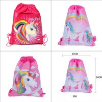 Unicorn Drawstring Bag Cartoon Unicorn Print Travel bags Non...