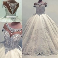 Designer Luxurious Beaded Crystals Arabic Ball Gown Wedding ...