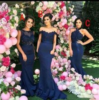 Mixed Styles Long Bridesmaid Dresses Mermaid Lace Applique L...