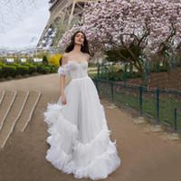 Элегантный Красивый Чистый Белый Свадебные Платья Для Свадьбы Мечты С Плеча Трапеция Свадебные Платья Обратно Молния Многоуровневое Свадебные Платья 2018