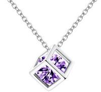 Moda 925 Esterlina Cadeia de Prata Colar Áustria Cz Diamante Cristal Amor Mágico Cubo Quadrado Forma Pingente Colar Para As Mulheres 30 Pcs