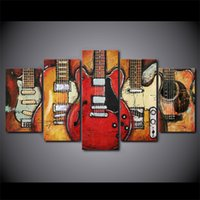 5 Pcs Canvas Wall Art Pictures Home Decor Framework Guitar A...