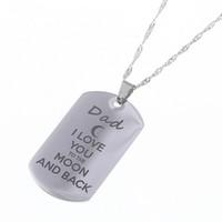 """Collier pendentif en acier inoxydable """"Je t'aime à la lune et au dos"""" Collier pour chien Tag Militaire Mens Bijoux Famille cadeau"""
