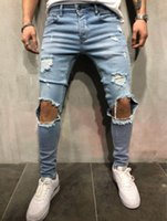 Uomo Hiphop Skateboard Jeans Denim Blue Holes Distressed Biker Jeans Street Pencil Pants Pantaloni lunghi