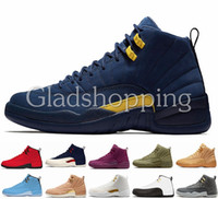 12 Michigan College Navy Bulls UNC Flu Gioco The Master Taxi Gym Rosso Francese Blu PSNY Olive Wheat 12s Mens scarpe da basket Sneakers