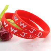 WWJD Brief-Armband-Silikon-Armband-Armband Was würde Jesus tun Christian Bibel Gummi Debossed Stulpe-Handgelenk-Band-Armband Schmuck Geschenke