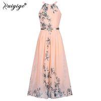 2018 Sommer Frauen Kleid Chiffon Blumendruck Halfter Tunika Sleeveless  Gefaltete Lange Maxi Party Boho Kleider Mit Gürtel Vestidos D1891304 144d03e11e