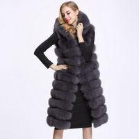 Mujer de invierno largo chaleco de piel sintética de alta calidad 11 líneas con capucha de piel femenina ropa Outwear caliente