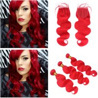 Body Wave Pure Red Lace Front Closure 4x4 con Tejidos 3Bundles Colored Red Malaysian Virgin Extensiones de trama de cabello humano con cierre