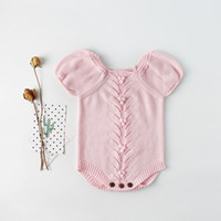 New autumn puff sleeve baby infant knitted knit jumpsuit cli...