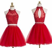 Hot Sell Two Pieces Homecoming Dresses Red Rhinestones Beade...