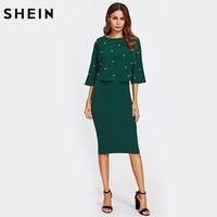 b7b5944ce6ebb SHEIN perla embellecido vestido de otoño elegante para mujer vestidos verde  sólido media manga hasta la rodilla vaina de dos piezasY1882204