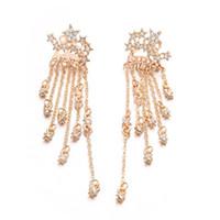 Sparkle Stars Lange Quaste Ohrringe Gold Silber Farbe Kristall Stromlinienförmige Ohrringe für Frauen Lady Girls Großhandel Weihnachtsgeschenk
