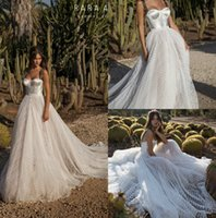New Boho Lace Abiti da sposa Spaghetti Backless Wedding Abiti da sposa Sweep Train A Line Bohemian Beach Abito da sposa abiti da sposa