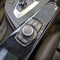 탄소 섬유 스타일 멀티미디어 손잡이 버튼 장식 커버 BMW 1 2 3 4 시리즈 3GT F20 F30 ABS 자동차 인테리어 액세서리
