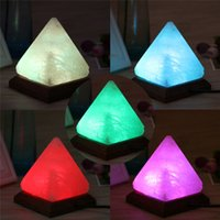 Triangle USB Salt Lamp Hand Carved Purifier Night Light Wood...