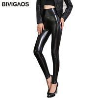 Toptan-BIVIGAOS For Women Bayan PU Tozluklar İnce Skinny Yüksek Bel PU Tozluklar Pantolon Kış Kadın Fleece Siyah Deri Pantolon Güz