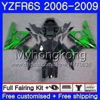 Körper für Yamaha YZF R6 S R 6S YZF600 YZFR6S 06 07 08 09 231HM.0 YZF-600 YZF R6S YZF-R6S 2006 2007 2007 2009 Verkleidung Kit Grüne Flammen schwarz