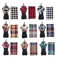 Moda Mantas Infinito Lenços grade laço Scarf Mulheres Inverno Quente Cobertores Tartan Oversized Verifique Xaile Malha Wraps Cashmere Pashmina